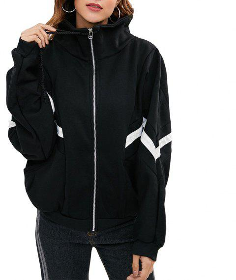 Women's Casual Color Block Stand Collar Long Sleeve Zipper Coat - BLACK L