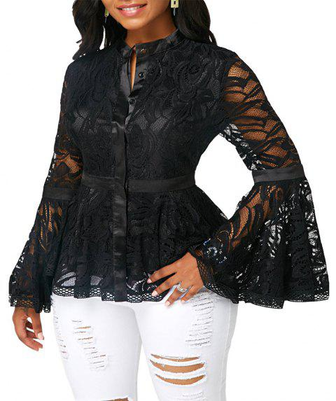 Autumn Women's Lace Panel Trumpet Sleeve Long Sleeve Openwork Top - BLACK L