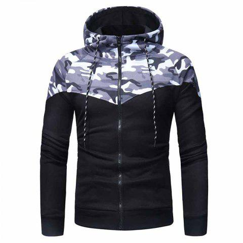 Classic Camouflage Stitching Men's Casual Slim Zipper Hoodie Sweater - GRAY 3XL