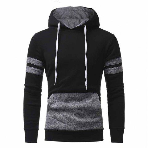 High Quality Design Personalized Patch Design Men's Casual Slim Hooded Pullover - BLACK M