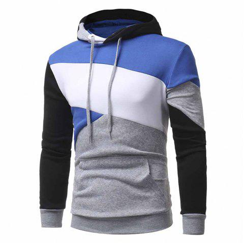Personality Multi-Color Stitching Men's Casual Slim Hooded Pullover Sweater Coat - GRAY L