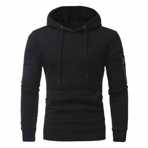 Fashion Simple Jacquard Men's Casual Hooded Pullover Sweater Coat - BLACK 3XL