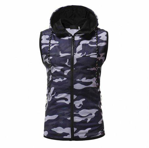 Men's Fashion High Quality Camouflage Design Sweater Casual Slim Sleeveless - CADETBLUE M