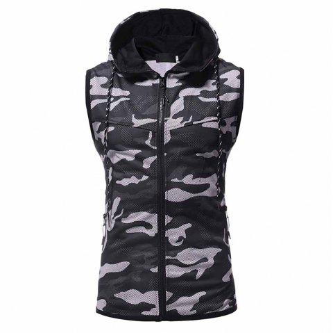 Men's Fashion High Quality Camouflage Design Sweater Casual Slim Sleeveless - BLACK L