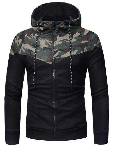 Men's Fashion Classic Camouflage Stitching Casual Slim Zipper Hoodie - ARMY GREEN L