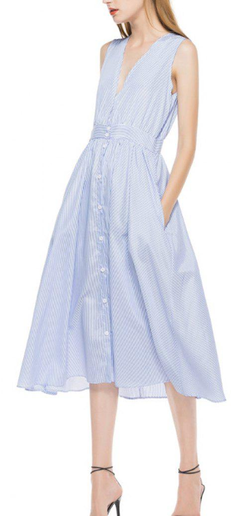 A Striped Sleeveless Dress - LIGHT BLUE XL
