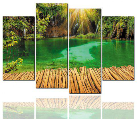 4 Pcs HD Inkjet Paints Peinture décorative Mountain Creek Aisle Scenery - multicolor Y 40CM*80CM*2PCS+40CM*100CM*2PCS