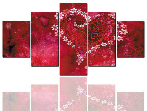5 Pcs HD Inkjet Paints Valentine's Day Wedding Red Love Decorative Painting - multicolor Y 1PC X 8 X 20,2PCS X 8 X 12,2PCS X 8 X 16 INCH( NO