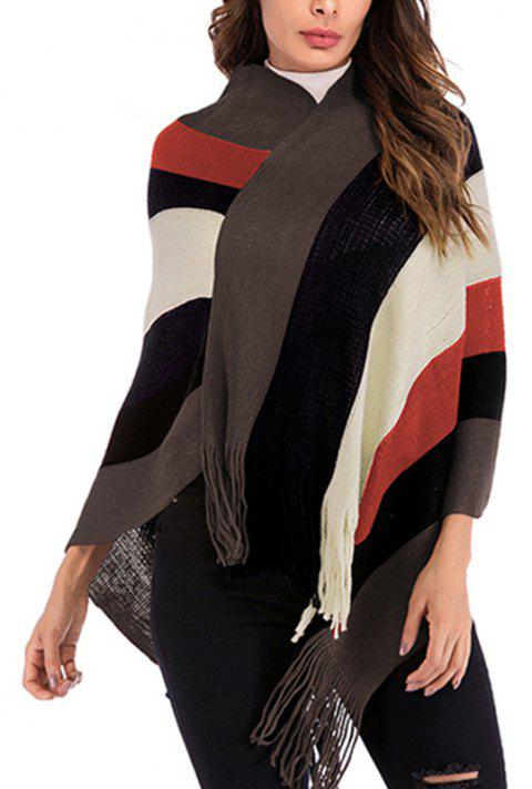Women'S Stripes Stitching Fringes Knitted Cardigan Blouses - COFFEE ONE SIZE