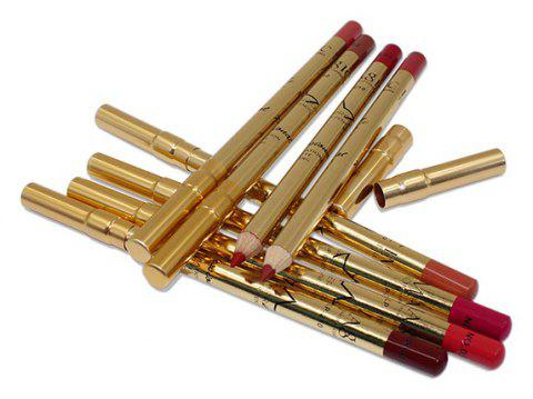 IMagic12 Sets of Easy To Color and Not Smudge Gold Tube Aluminum Cover Lip Liner - 007