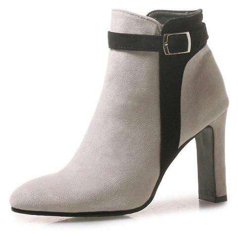 Thick High Pointed Red Buckles with Short Boots - GRAY EU 35