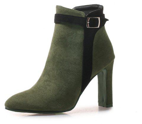 Thick High Pointed Red Buckles with Short Boots - ARMY GREEN EU 39