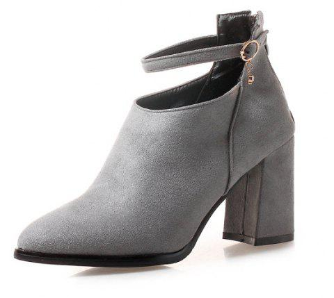 High Heel Pointed Buckle Banquet Fashion Boots - GRAY EU 42