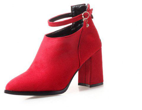 High Heel Pointed Buckle Banquet Fashion Boots - RED EU 34