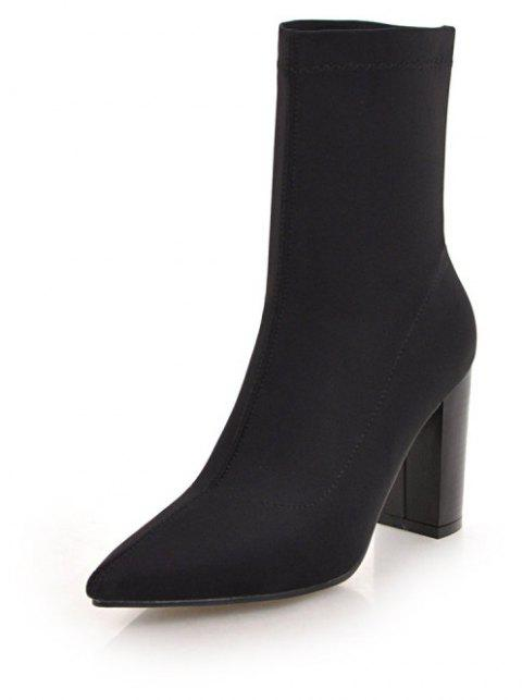 Thick High Heel Pointy Elastic Banquet Boots in Fashion - BLACK EU 38