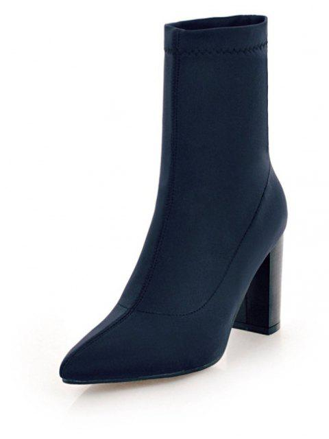 Thick High Heel Pointy Elastic Banquet Boots in Fashion - DEEP BLUE EU 42