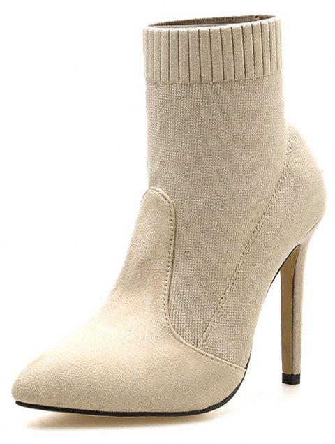 Simple Suede Knitted Socks Splice Suede High Heels Boots - APRICOT EU 39