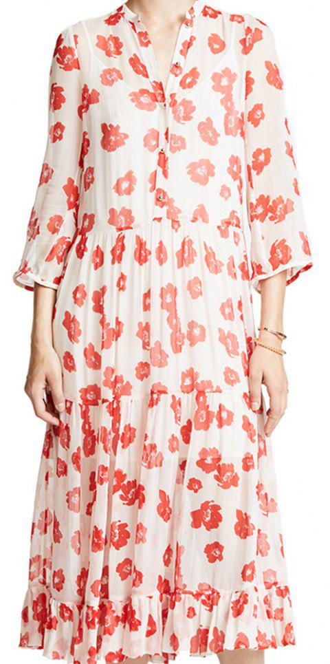 3249873183 Simple Floral Print Ruffled Hem Micro-Perspective Dress - multicolor A M