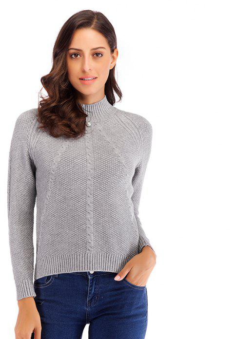 Autumn and Winter Casual High Collar Stretch Beaded Shirt Women's Sweater - GRAY ONE SIZE