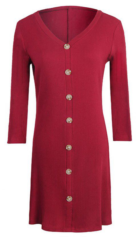 New Button V-Neck Five-Point Sleeves Slim Dress - RED WINE M