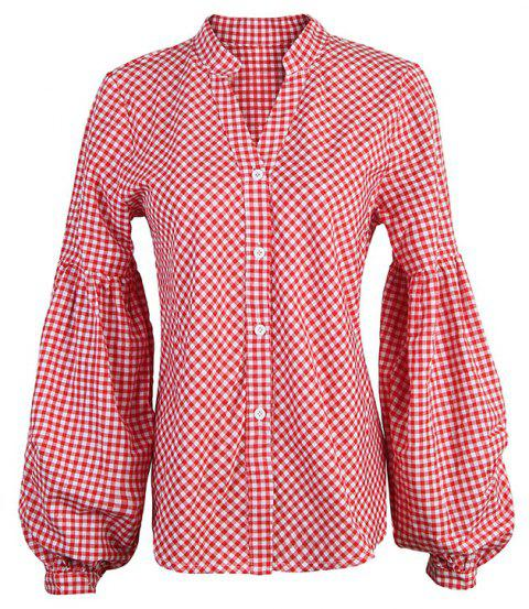 Spring and Autumn V-neck Lantern Sleeve Long Sleeve Shirt - RED S