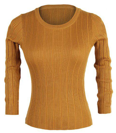Slim women'S Autumn New Casual Stretch Bottoming Shirt Knit Sweater - BROWN BEAR ONE SIZE