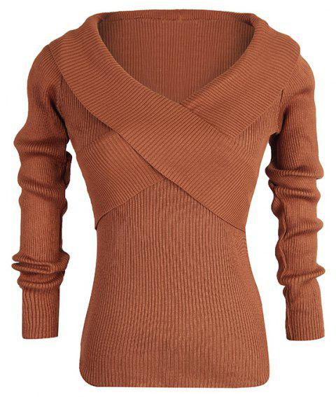 Autumn V-Neck Slim Knit Sweater Wild Casual women'S Knit Sweater - DEEP COFFEE ONE SIZE