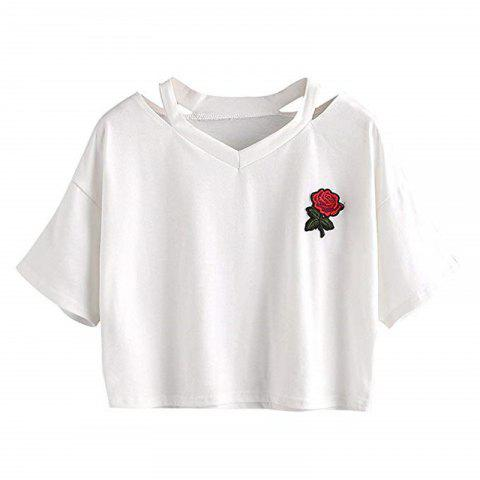 Women'S Embroidered Crop Top Short Sleeve T Shirt - WHITE S