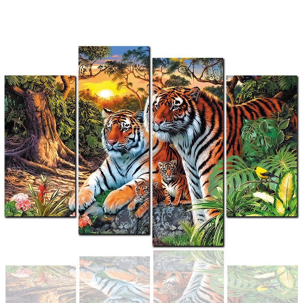 4 Pcs HD Inkjet Paints Abstract Tiger Family Portrait Animal Decorative Painting