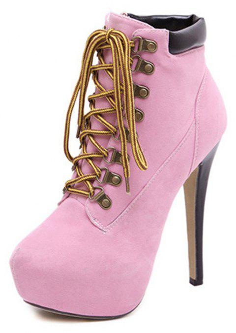 Boots High Heels Crossed Straps Fine Heels Martin Boots Boots. - PINK EU 35