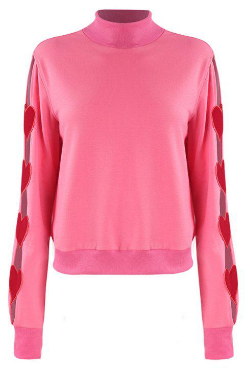 Openwork  Love  Embroidery  Half High Collar Sweater - DEEP PINK M