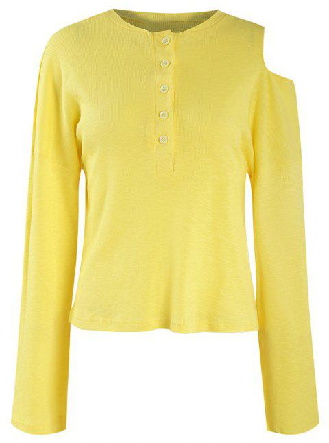 Off-The-Shoulder Trumpet Sleeve Knitwear - YELLOW XL