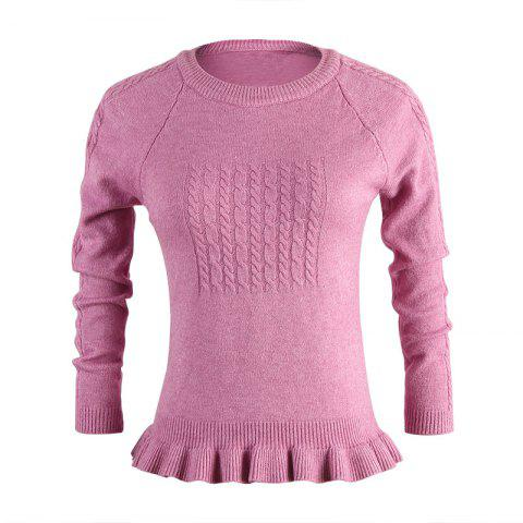 Spring and Autumn New women'S Long-Sleeved Round Neck Ruffled Loose Sweater - WISTERIA PURPLE ONE SIZE