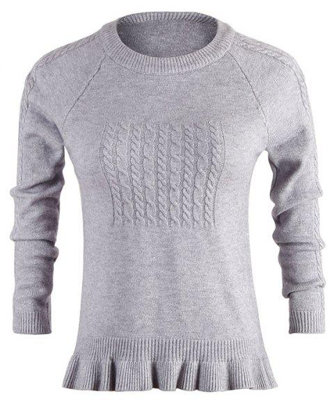 Spring and Autumn New women'S Long-Sleeved Round Neck Ruffled Loose Sweater - GRAY ONE SIZE