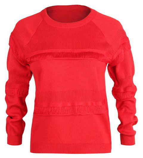Autumn and Winter women'S Casual Slim Round Neck Sleeves Knit Sweater - RED ONE SIZE