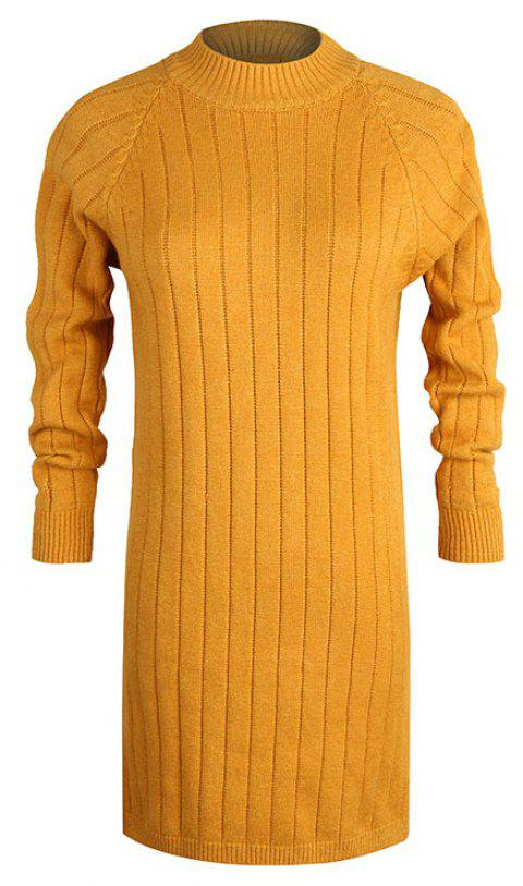 Autumn and Winter New Sweater Half-Necked Loose Pullover Sweater - ORANGE GOLD ONE SIZE