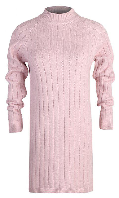 Autumn and Winter New Sweater Half-Necked Loose Pullover Sweater - PIG PINK ONE SIZE