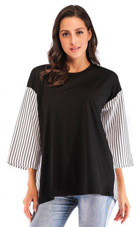 Autumn New Products Large Size women'S Loose Striped Casual Stitching T-shirt - BLACK XL