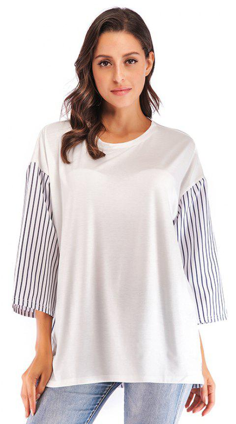 Autumn New Products Large Size women'S Loose Striped Casual Stitching T-shirt - WHITE 5XL