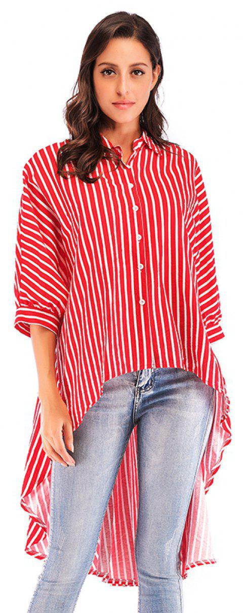 Summer New Bat Sleeve Loose Dovetail Trend women'S Striped Shirt - RED ONE SIZE