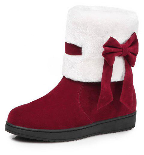 Color Stitching Suede Warm Comfortable Snow Boots - RED WINE EU 38