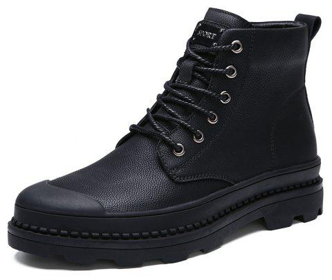Men'S High-Top Leather Shoes Wear-Resistant Anti-Skid Workwear Casual Boo - JET BLACK EU 42