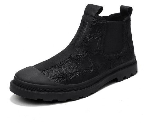 Men'S High-Top Leather Wear-Resistant Keep Warm Casual Tooling Boots - JET BLACK EU 41