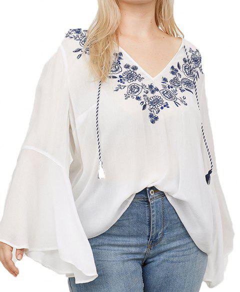 Embroidered Ties Flared Sleeves Loose Long-Sleeved Shirt - WHITE XL