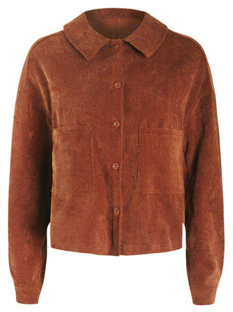 Corduroy Embroidered Jacket - BROWN XL