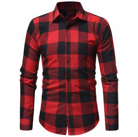 Men's Classic Flannel Large Plaid Casual Slim Long Sleeve Shirt - RED XL