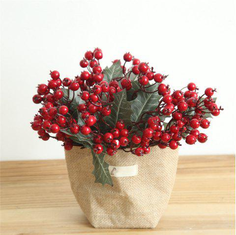 Vivid Little Red Berries Artificial Flower Christmas Decorations - RED
