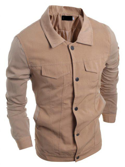 Men's Fashion Stitching Single-breasted Casual Long Sleeve Jacket - TAN M