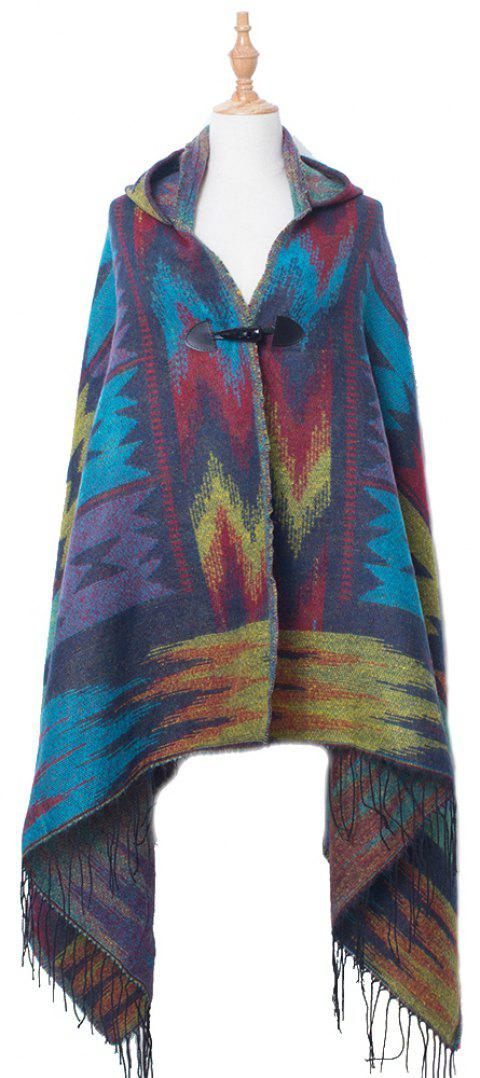 Soft Comfortable Lady Hooded Cloak Worn - BLUEBERRY BLUE