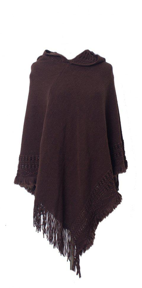 Lady's Soft and Solid Cap Knitted Cloak - COFFEE